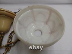 Antique Brass Ceiling Light Fixture Decorative Milk Glass Swags Old Vtg 4499-15