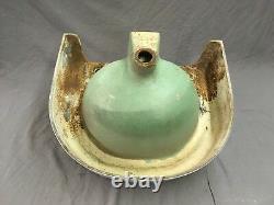 Antique Cast Fer Porcelaine Blanche Poudre Bain Wall Sink Old Standard Vtg 605-18e