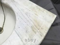 Antique Corner Marble Sink Viterous 12 Round China Basin Old Vintage 75-19e