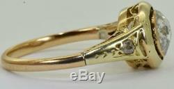 Antique Coupe Victorienne 14k Gold & 1ct Vieille Rose Diamonds Dames Anneau De C1880. Rare