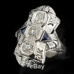 Antique Diamant Bouclier Anneau Ancienne Mine D'or Cut 18k Sapphire Grand Art Déco Des Années 1920