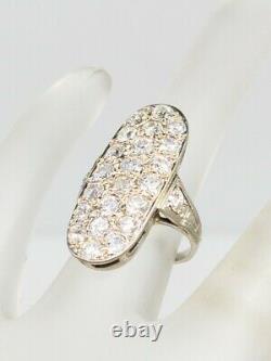 Antique Edwardian 1900s 7000 $ 3ct Old Euro Vs H Diamond Platinum Cluster Ring