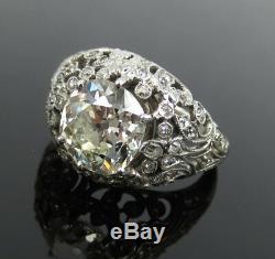 Antique Edwardian 2.53ct Ancienne Mine Diamond Cut Platinum Décorée Taille De L'anneau 6.75