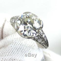 Antique Edwardian 3.49ct Ancienne Mine Diamond Cut Platinum Décorée Bague 7,75