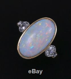Antique Edwardian Opal Old European Coupe Diamant Bague En Or 14k Platine Immobilier