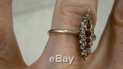 Antique Ladies 'or Rose 33 Points Old Mine De Diamant Taille / Ruby Taille 8 Bague