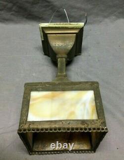 Antique Mission Hanging Pedant Stained Slag Glass Ceiling Light Vtg Old 1103-20b