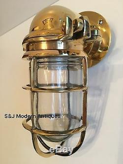Antique Mur Industrial Light Cage Vintage Bulkhead Laiton Or Lampe Vieux Navire