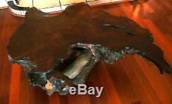 Antique Old Croissance Redwood Ronce Bois Table Basse Collection Vintage Furniture