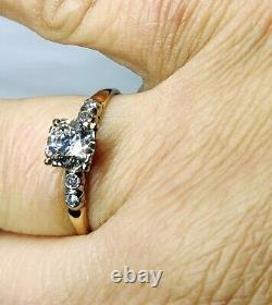 Antique Old Mine Cut Diamond 14k Yellow Gold Engagement Ring Estate Vintage