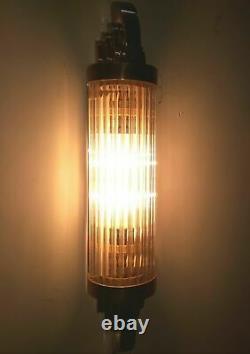 Antique Old Vintage Art Déco Brass & Glass Rod Ship Light Wall Sconces Lampe