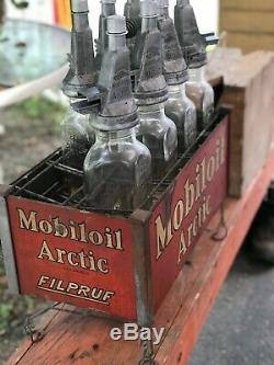 Antique Old Vintage Mobiloil Mobil Oil Arctic Filpruf Oil Bouteilles Gas Statio