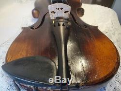 Antique Old Vintage Pour Violon 4/4 Richard Ribus Maker Son Agréable