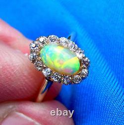 Antique Opal Vieille Coupe Européenne Diamant Solitaire Vintage Deco Bague De Fiançailles