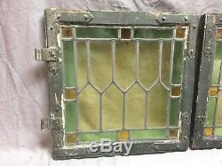 Antique Paire À Battants Portes D'armoires Vitraux Old Vtg 443-18e Plombé