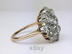 Antique Platinum Domaine 14k Or Rose Old Cut Mine De Diamants Bague Fleur