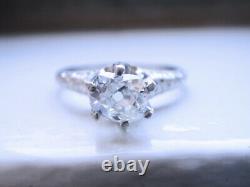Antique Platinum Vs2/j 0.80ct Vieille Mine Cut Diamond Fiançailles Taille De Bague 7 6.3gr