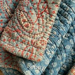 Antique Quilt Indigo Résister Français 18ème Siècle Rare Textile Vintage France Vieux