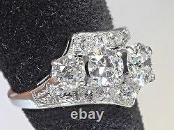 Antique Superb Old Cut Européenne Et Ancienne Mine Cut Vs2 / F Bague À Diamant Solitaire 14kt
