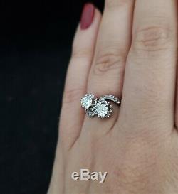 Antique Toi À Moi Anneau Vieux Diamants Européens Et Rose Cut Engagement Platinum