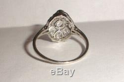 Antique Victorian 0,80 Ct Diamant Ancienne Taille De L'anneau De Platine 7 Mine À