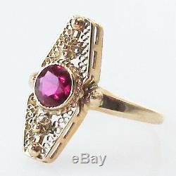 Antique Victorian Ruby Vintage Or Jaune Filigrane Domaine Bijoux Bague Vieux