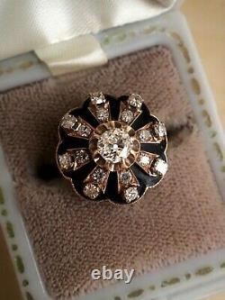 Antique Victorien / Edwardian Vieille Mine Coupée Diamant Et Anneau En Émanel Noir 1.00ct