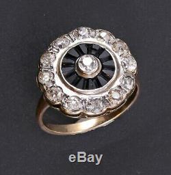 Antique Victorienne Circa 1860 Un Carat Old Cut Mine De Diamants 14k