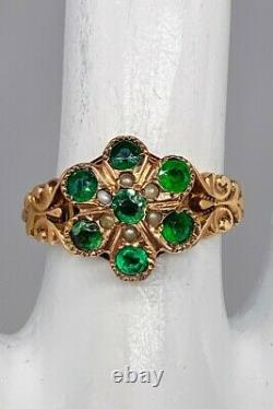 Antique Victorienne Des Années 1870 2ct Old Euro Emerald Pearl 14k Yellow Gold Halo Ring