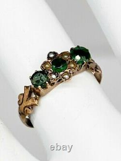 Antique Victorienne Des Années 1880 1ct Old Euro Natural Emerald Pearl 14k Yellow Gold Ring