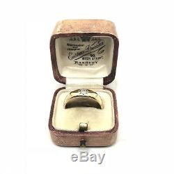 Antique Vintage Old Cut Diamant Bague En Or Jaune 18 Carats Gypsy Circa 1920 Taille Q