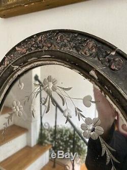 Antique Vintage Old Cut Gravé En Verre Miroir Cadre En Bois Gravé 30 X 15 Trumeau