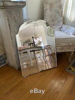 Antique Vintage Old Gravé En Verre Miroir Biseauté Arquée Comme Trouvé Grand 30x 22
