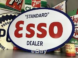 Antique Vintage Old Style Esso Standard Ovale Concessionnaire Signe