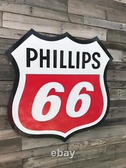 Antique Vintage Old Style Phillips 66 Bouclier Essence Signe 40
