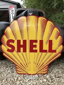 Antique Vintage Old Style Shell Essence Et Huile Signe 40