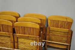 Antique Vintage Wood Slat Double Pliant Siège Theater School Ancien Banc De Chaise Pew