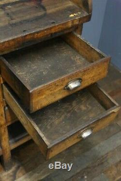 Antique Vintage Workbench Bois Bureau Comptoir Industriel Table Bijoutier Vieux Tiroirs