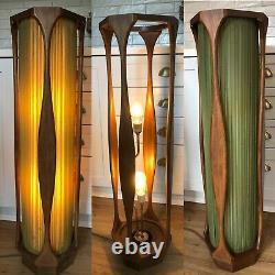 Antique Vtg Années 1950 1960 MCM MID Century Wood Floor Lamp Light Danish Atomic Old
