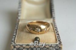 Antiques Or 18 Carats Trois Vieilles Pierres Cut Diamond Star Gypsy Anneau 5.1 G