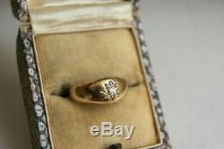 Antiques Or Jaune 18 Carats Old Cut Diamond Star Gypsy Pinky Anneau Uk F