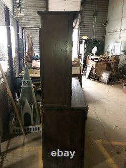 Armoire Hutch Verticale Vintage Oak Vieux Vernis 76 X 69 X 23 Unité De Maison D'école