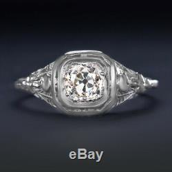 Art Ancien Diamond Cut Europe Déco Bague De Fiançailles 18k Vintage Antique 1/2 Carat