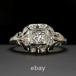 Art Deco Diamond Bague De Fiançailles Anciennes Européenne Coupée Vintage Antique Blanc Or