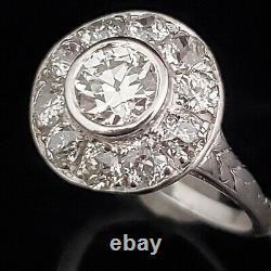 Art Déco Gia Transition & Old European Cut Diamond Ring Halo Platinum Vintage