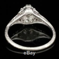 Art Deco Old Bague En Platine Européenne Diamond Cut Engagement Ou Mode C. Années 1920