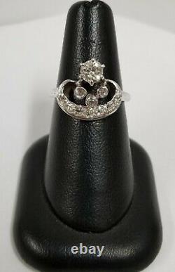 Art Déco Platinum Old Mine Cut Diamonds Hand Etched Crown Ring 0.76 Ctw 4.9 G