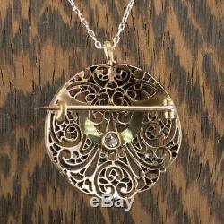 Art Nouveau Vs Old 1,25 Mine De Diamants Turquoise Cut Rose Pendentif Collier Vintage