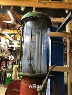 Au Début Ancien G & B 176 Visible Pompe Gasoil Vintage Antique Blue Bouteille Station Wow