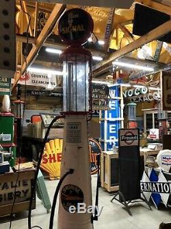 Au Début Ancien G & B Visible Signal Pompe Gaz Vintage Modèle Antique T Huile Signe Garage